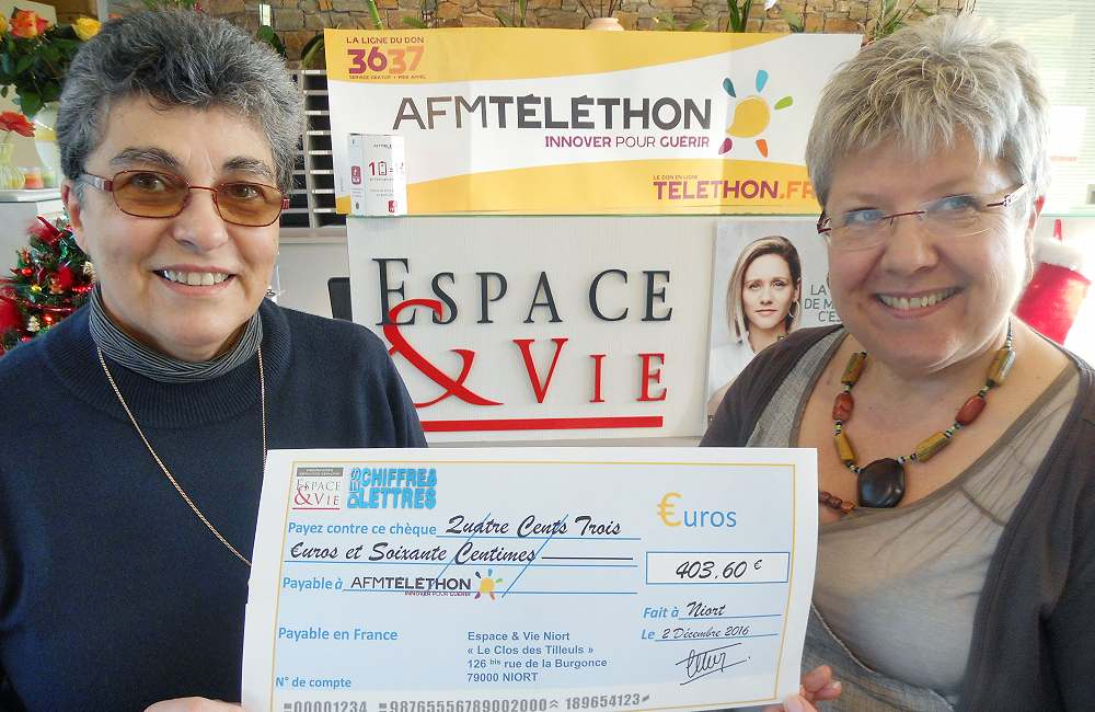 Espace & Vie Niort se mobilise pour le Téléthon…
